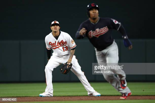 Manny Machado of the Baltimore Orioles watches a hit during the third inning Cleveland Indians at Oriole Park at Camden Yards on April 23 2018 in...