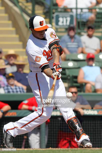 Manny Machado of the Orioles at bat during the spring training game between the Boston Red Sox and the Baltimore Orioles on March 01 2017 at Ed Smith...