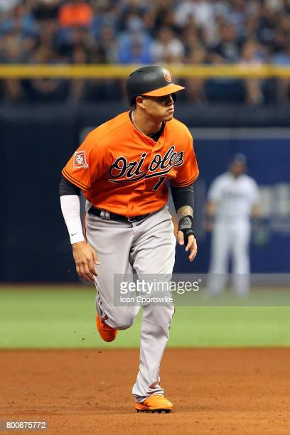 Manny Machado of the Orioles hustles over to third base during the MLB regular season game between the Baltimore Orioles and Tampa Bay Rays on June...