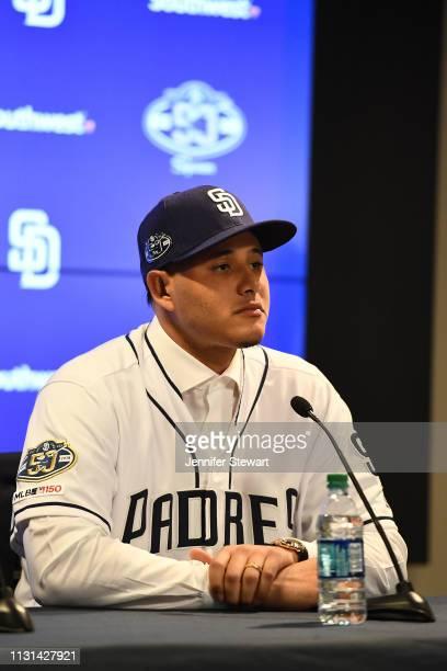 Manny Machado of the San Diego Padres addresses the media at Peoria Stadium on February 22, 2019 in Peoria, Arizona.