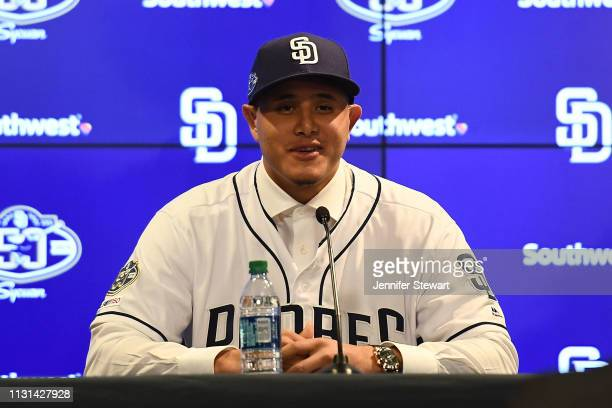 Manny Machado of the San Diego Padres addresses the media at Peoria Stadium on February 22 2019 in Peoria Arizona