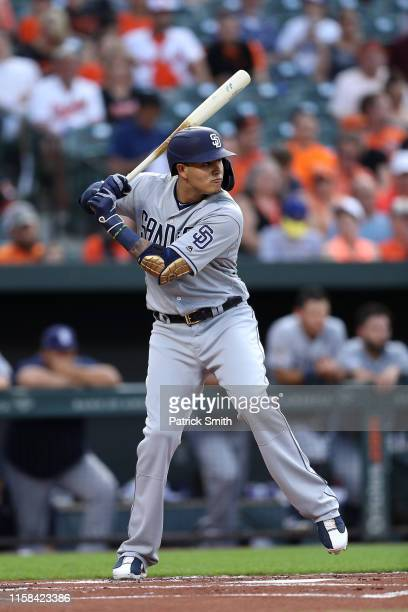 Manny Machado of the San Diego Padres bats against the Baltimore Orioles at Oriole Park at Camden Yards on June 25 2019 in Baltimore Maryland