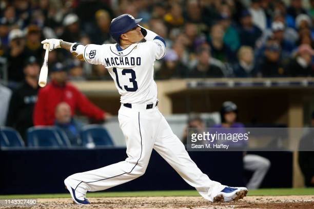 Manny Machado of the San Diego Padres bats during a game against the Colorado Rockies at PETCO Park on April 16 2019 in San Diego California
