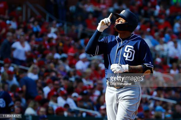 Manny Machado of the San Diego Padres celebrates after hitting a tworun home run against the St Louis Cardinals in the eighth inning at Busch Stadium...