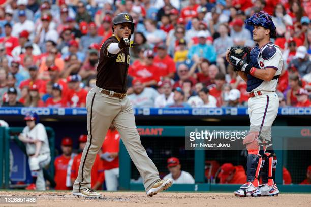Manny Machado of the San Diego Padres celebrates after hitting a two run home run during the first inning against the Philadelphia Phillies at...