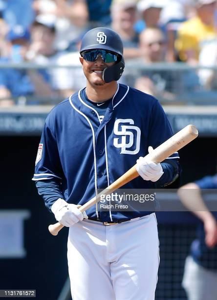 Manny Machado of the San Diego Padres during an MLB spring training game against the Milwaukee Brewers at Peoria Stadium on March 20 2019 in Peoria...