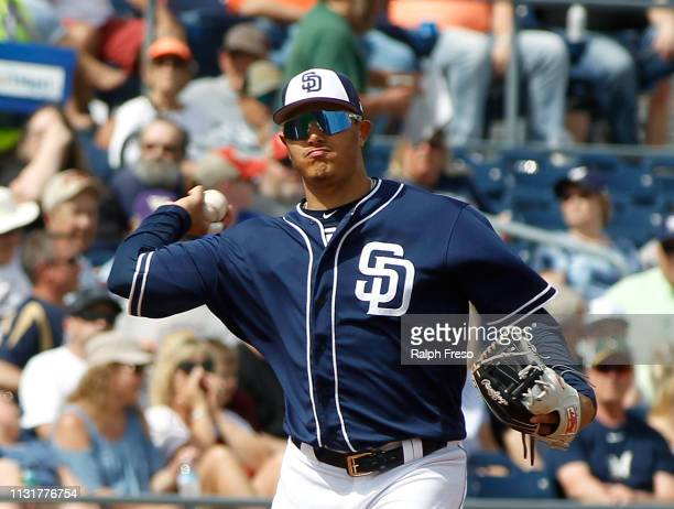 Manny Machado of the San Diego Padres during an MLB spring training game against the Milwaukee Brewers at Peoria Stadium on March 20, 2019 in Peoria,...