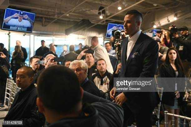 Manny Machado of the San Diego Padres enters the press conference at Peoria Stadium on February 22, 2019 in Peoria, Arizona.