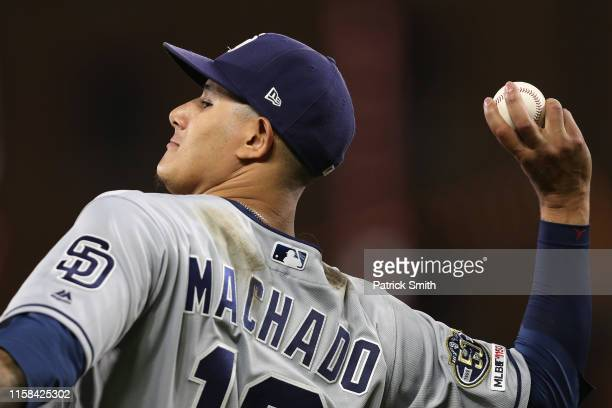 Manny Machado of the San Diego Padres fields against the Baltimore Orioles at Oriole Park at Camden Yards on June 25 2019 in Baltimore Maryland
