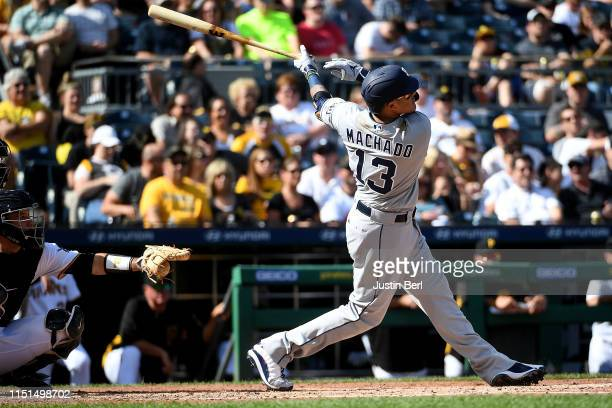 Manny Machado of the San Diego Padres hits a solo home run in the fourth inning during the game against the Pittsburgh Pirates at PNC Park on June...