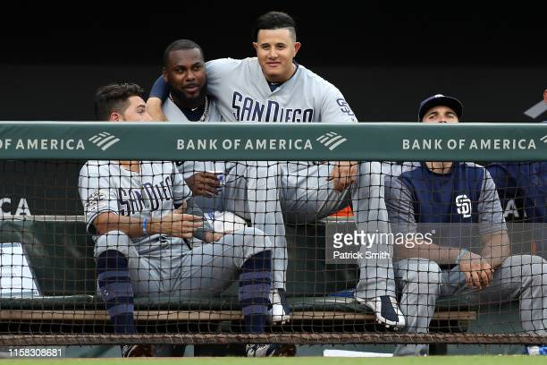 Manny Machado of the San Diego Padres looks on from the dugout against the Baltimore Orioles during the second inning at Oriole Park at Camden Yards...