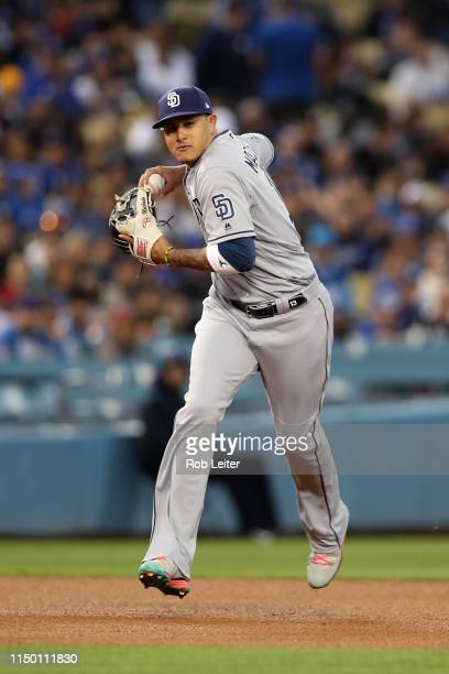 Manny Machado of the San Diego Padres plays shortstop during the game against the Los Angeles Dodgers at Dodger Stadium on May 14 2019 in Los Angeles...