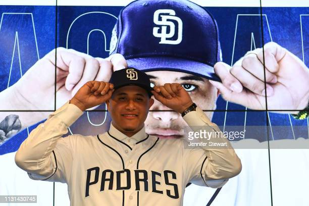 Manny Machado of the San Diego Padres poses for a photo during a press conference at Peoria Stadium on February 22 2019 in Peoria Arizona