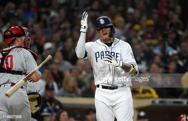 Manny Machado of the San Diego Padres reacts after a called strike out during the third inning of a baseball game against the Philadelphia Phillies...