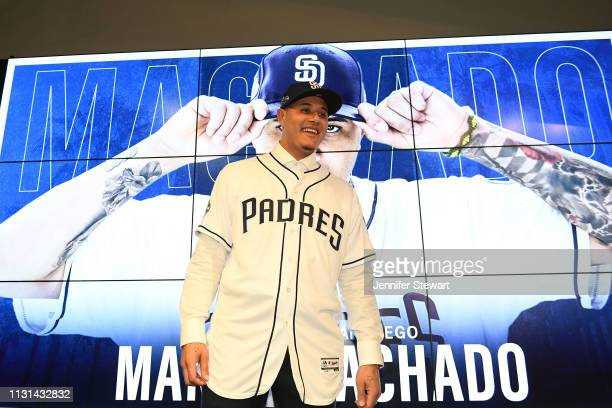 Manny Machado of the San Diego Padres smiles during a press conference at Peoria Stadium on February 22 2019 in Peoria Arizona
