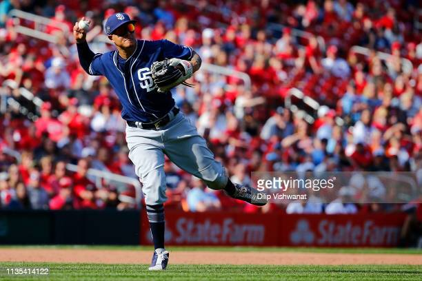 Manny Machado of the San Diego Padres throws to first base against the St Louis Cardinals in the eighth inning at Busch Stadium on April 6 2019 in St...