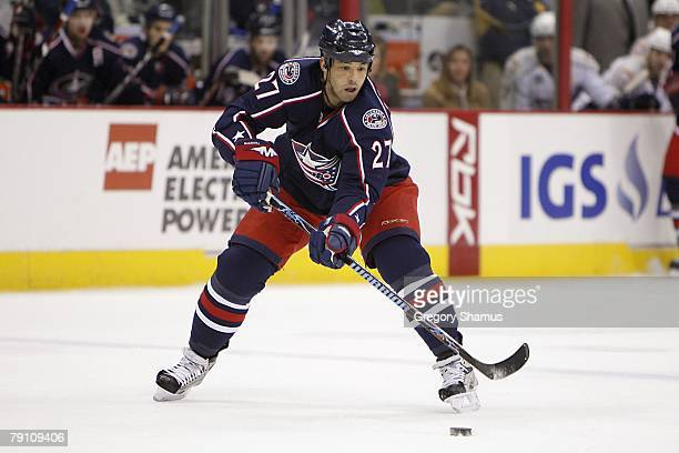 Manny Malhotra of the Columbus Blue Jackets controls the puck during the NHL game against the Nashville Predators at the Nationwide Arena on January...