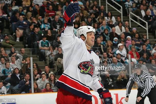 Manny Malhotra of the Columbus Blue Jackets reacts to a goal during a game against the San Jose Sharks on January 6 2007 at the HP Pavilion in San...
