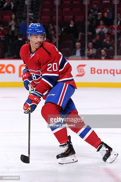 Manny Malhotra of the Montreal Canadiens skates during the warmup period prior to facing the Winnipeg Jets in their NHL game at the Bell Centre on...