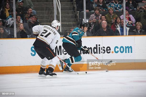 Manny Malhotra of the San Jose Sharks skates up ice during an NHL game against the Anaheim Ducks on December 26, 2009 at HP Pavilion at San Jose in...