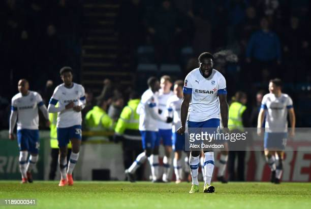Manny Monthe celebrates Kieron Morris' winning goal on extra-time during the FA Cup First Round Replay between Wycombe Wanderers and Tranmere Rovers...