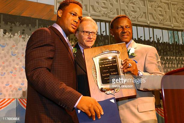 Manny Mota, Larry King and Adrian Beltre during 15th Annual RBI Hall of Fame Dinner at The Globe Theater at Universal Studios in Universal City,...