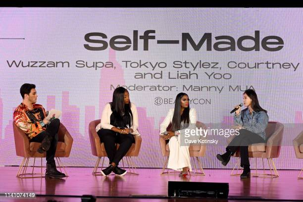 Manny MUA Wuzzam Supa Courtney Adeleye and Liah Yoo speak onstage at Beautycon Festival New York 2019 at Jacob Javits Center on April 07 2019 in New...