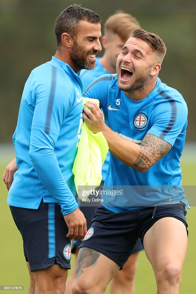 Manny Muscat and Bart Schenkeveld of Melbourne City share a joke during a break at a Melbourne City FC A-League training session at City Football Academy on March 15, 2018 in Melbourne, Australia.
