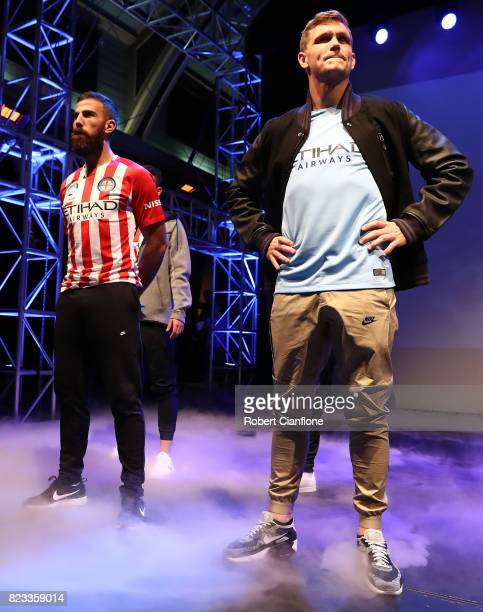 Manny Muscat and Michael Jakobsen of Melbourne City are seen on stage during the Melbourne City 2017/18 ALeague Kit Launch on July 27 2017 in...