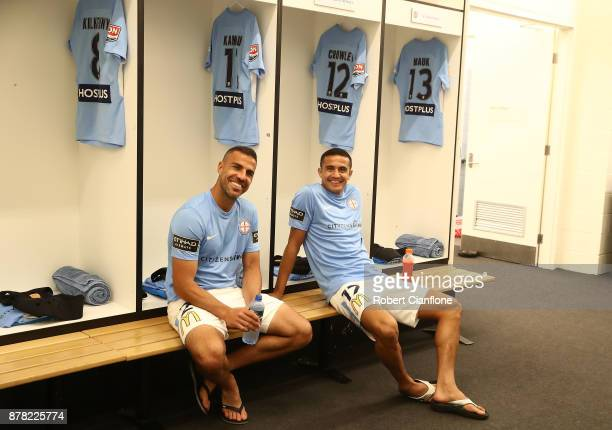 Manny Muscat and Tim Cahill of the City prepare for the round eight ALeague match between Melbourne City and Perth Glory at AAMI Park on November 24...