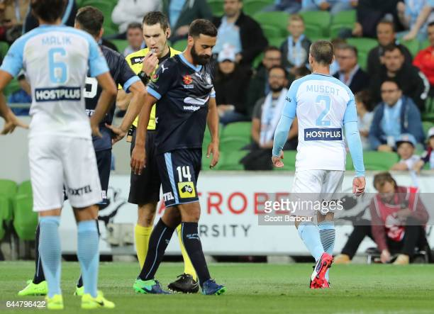 Manny Muscat of City leaves the field after being sent off by the referee during the round 21 ALeague match between Melbourne City and Sydney FC at...