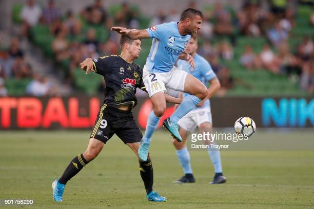 Manny Muscat of Melbourne City defends the ball during the round 14 ALeague match between Melbourne City and the Wellington Phoenix at AAMI Park on...