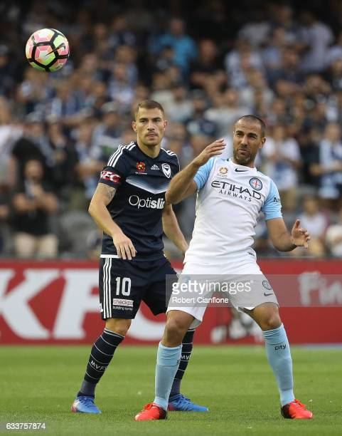Manny Muscat of Melbourne City heads the ball during the round 18 ALeague match between Melbourne Victory and Melbourne City FC at Etihad Stadium on...