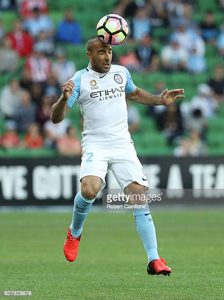 Manny Muscat of Melbourne City heads the ball during the round nine ALeague match between Melbourne City FC and the Brisbane Roar at AAMI Park on...