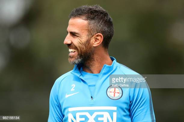 Manny Muscat of Melbourne City is seen during a Melbourne City FC ALeague training session at City Football Academy on March 15 2018 in Melbourne...