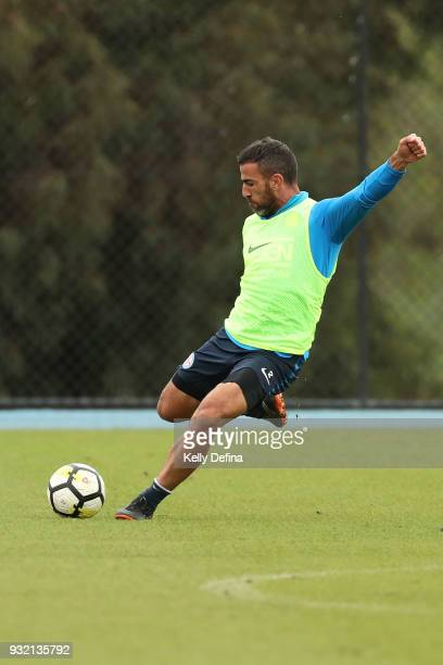 Manny Muscat of Melbourne City kicks the ball during a Melbourne City FC ALeague training session at City Football Academy on March 15 2018 in...