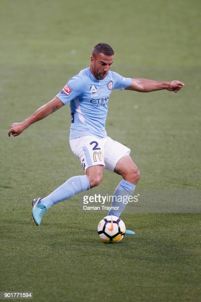 Manny Muscat of Melbourne City kicks the ball during the round 14 ALeague match between Melbourne City and the Wellington Phoenix at AAMI Park on...
