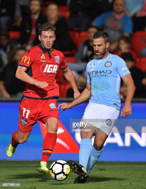 Manny Muscat of Melbourne City passes the ball during the round 23 ALeague match between Adelaide United and Melbourne City at Coopers Stadium on...