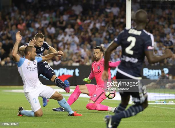 Manny Muscat of Melbourne City scores an own goal during the round 18 ALeague match between Melbourne Victory and Melbourne City FC at Etihad Stadium...