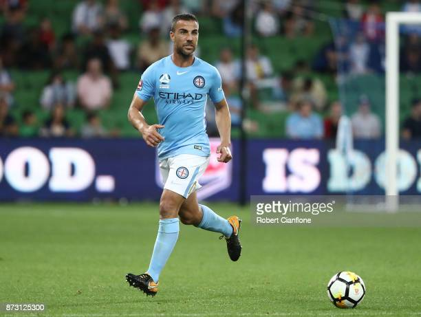 Manny Muscat of the City runs with the ball during the round six ALeague match between Melbourne City and the Western Sydney Wanderers at AAMI Park...