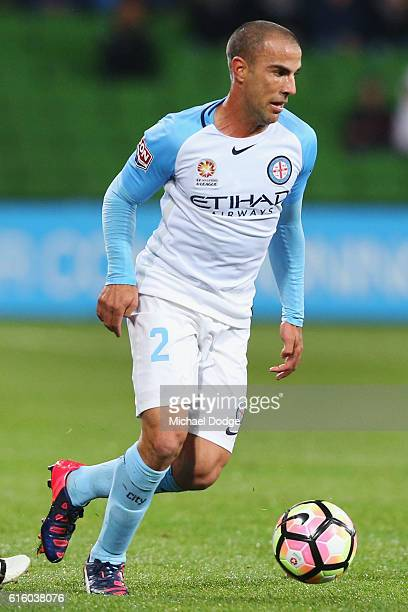 Manny Muscat of the City runs with the ball during the round three ALeague match between Melbourne City FC and Perth Glory at AAMI Park on October 21...