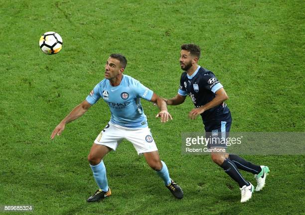 Manny Muscat of the Cityis pressured by Michael Zullo of Sydney FC during the round five ALeague match between Melbourne City FC and Sydney FC at...