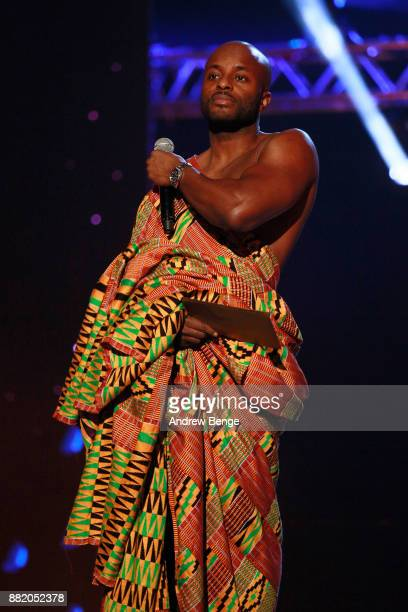 Manny Norte speaks on stage at the MOBO Awards at First Direct Arena Leeds on November 29 2017 in Leeds England