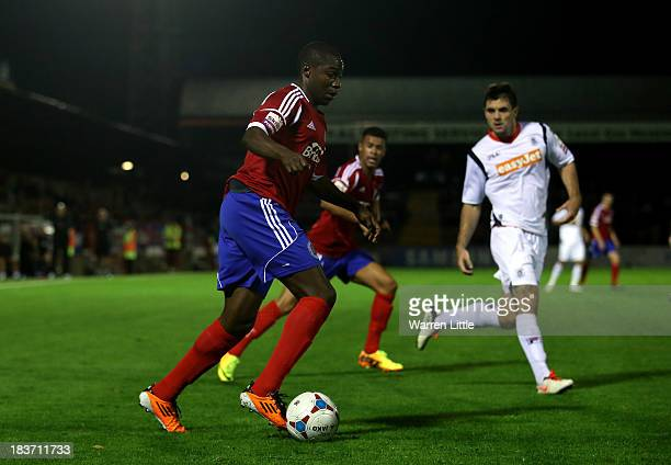 Manny Oyeleke of Aldershot in action during the Skrill Conference Premier match between Aldershot Town and Luton Town at Electrical Servies Stadium...