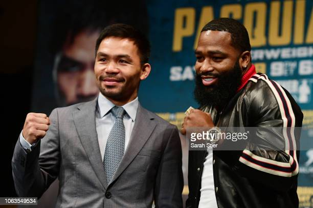 Manny Pacquiao and Adrien Broner face off during a press conference at Gotham Hall in preparation for their upcoming match on November 19 2018 in New...