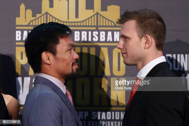 Manny Pacquiao and Jeff Horn face off after the official press conference for WBO World Welterweight Championship at Suncorp Stadium on June 28 2017...