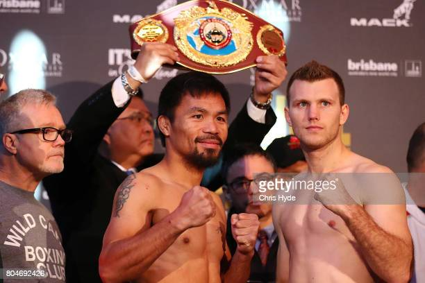 Manny Pacquiao and Jeff Horn face off after the weigh in ahead of the title fight between Jeff Horn and Manny Pacquiao at Suncorp Stadium on July 1...