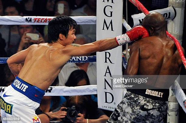 Manny Pacquiao and Timothy Bradley fight during their WBO world welterweight championship boxing match at the MGM Grand Garden Arena on April 12 2014...