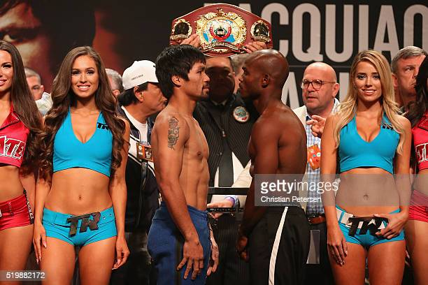Manny Pacquiao and Timothy Bradley Jr face off during their official weighin at MGM Grand Garden Arena on April 8 2016 in Las Vegas Nevada The two...