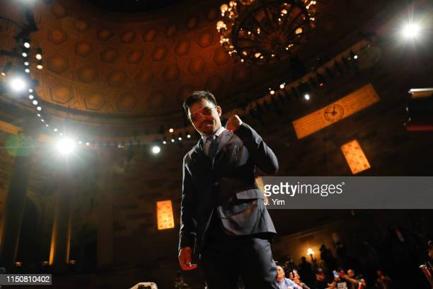 Manny Pacquiao arrives to a press conference at Gotham Hall in preparation for his fight against Keith Thurman on May 21 2019 in New York City...